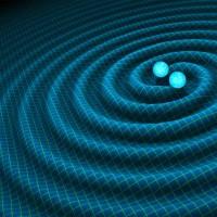 Von zwei Schwarzen Löchern gehen spiralförmige Wellen ähnlich Wasserwellen aus